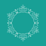 Monogram frame. It consists of lines of different types of spirals, curves, intersections. Background blue, white monogram Stock Photo