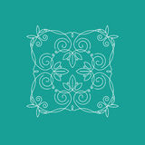 Monogram frame. It consists of lines of different types of spirals, curves, intersections. Background blue, white monogram Royalty Free Stock Photography