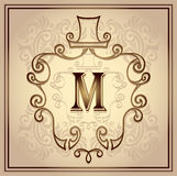Monogram frame for men on beige Royalty Free Stock Photos