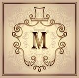 Monogram frame for men on beige Royalty Free Stock Photos