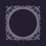 Monogram frame template, floral ornament, circle and square Stock Photography