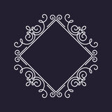 Monogram frame template, floral ornament, square Stock Images