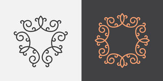 Monogram frame template. Vintage swirl design, vector Stock Photos