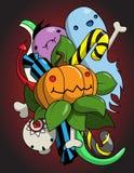 Monogram Halloween met de tentakels en de snoepjes van het pompoenspook Royalty-vrije Stock Afbeelding