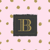 Monogram on hand drawn ink background polka dot Royalty Free Stock Photography