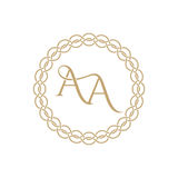 Monogram from intertwining letters. AA in elegant frame. Golden template for cafe, bars, boutiques, invitations. Logo for business. Vintage elements of design royalty free illustration