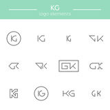 Monogram of K and G letters Stock Images