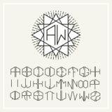 Monogram ,  line art logo  in Art Nouveau Style Stock Photo