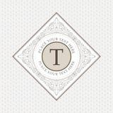 Monogram logo template with flourishes Royalty Free Stock Photo
