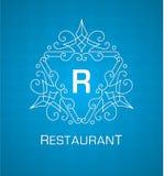 Monogram logo template with flourishes calligraphic elegant ornament elements on blue background Royalty Free Stock Image
