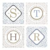 Monogram logo template with flourishes calligraphic elegant ornament elements Stock Photo