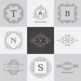Monogram logo template with flourishes calligraphic elegant ornament elements Stock Photos