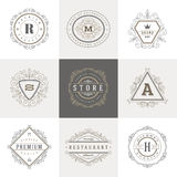 Monogram logo template. With flourishes calligraphic elegant ornament elements. Identity design with letter for cafe, shop, store, restaurant, boutique, hotel stock illustration