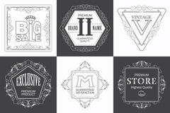 Monogram logo template with flourishes calligraphic elegant ornament elements. Stock Photo