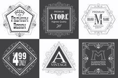 Monogram logo template with flourishes calligraphic elegant ornament elements. stock illustration