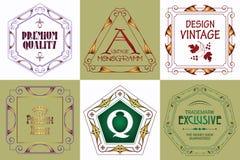Monogram logo template with flourishes calligraphic elegant ornament elements. Royalty Free Stock Image