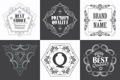 Monogram logo template with flourishes calligraphic elegant ornament elements. Stock Image