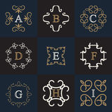 Monogram logo template. With flourishes calligraphic ornament elements. Vintage badges.Luxury elegant design for cafe, restaurant, heraldic, jewelry, fashion Stock Image