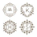 Monogram logo and text badge emblem line art vector illustration luxury template flourishes calligraphic leaves elegant Royalty Free Stock Images