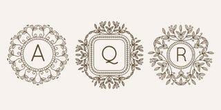 Monogram logo and text badge emblem line art vector illustration luxury template flourishes calligraphic leaves elegant Stock Image