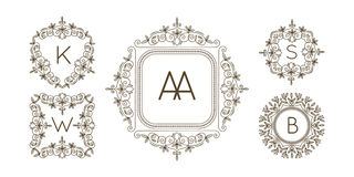 Monogram logo and text badge emblem line art vector illustration luxury template flourishes calligraphic leaves elegant Royalty Free Stock Image