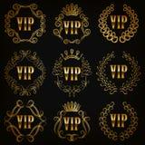 Monogram Logos Set. Set of gold vip monograms for graphic design on black background. Elegant graceful frame, filigree border, crown in vintage style for wedding Stock Photo