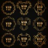 Monogram Logos Set. Set of gold vip monograms for graphic design on black background. Elegant graceful frame, filigree border, crown in vintage style for wedding Stock Images