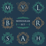 Monogram Logos Set Graphic Logo template flourishes elegant ornament lines. Business sign, identity for Restaurant, Royalty, Bouti Royalty Free Stock Photo