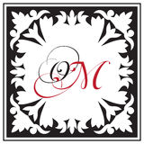 Monogram in oriental ornamental style, framework composition Stock Photography