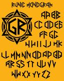 Monogram pattern with set of two-sided letters in runic style. Vector monogram pattern with set of two-sided letters in runic style Royalty Free Stock Image