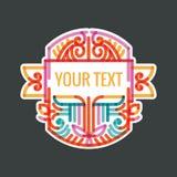 Monogram, ram, gräns, emblem, etikett, vapen eller tappning Insigni för vektor för tappning för klassisk hipster för art déco lyx Royaltyfri Bild