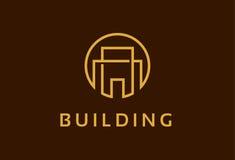 Monogram som bygger Logo Template Design Vector, emblem, designbegrepp, idérikt symbol, symbol Arkivfoto