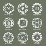 Monogram template. Elegant design for identity style. Vector monogram design with place for text. Abstract badges. Stock Photos