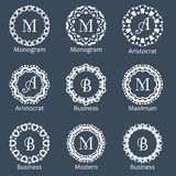 Monogram template. Elegant design for identity style. Vector monogram design with place for text. Abstract badges. Royalty Free Stock Image