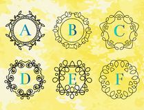 Monogram template with flourishes calligraphic elegant ornament watercolor badge letter vector illustration Royalty Free Stock Photography