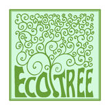 Monogram tree with curls, outline emblem, ecology concept template. Logo organic Design. Vector illustration Royalty Free Stock Photos