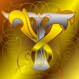 Monogram  v,t,gold, silver Royalty Free Stock Photo