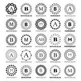 Monogram vector template design - big set. Elegant wedding or company monogram sign, single letter and floral or abstract frame o Stock Illustration
