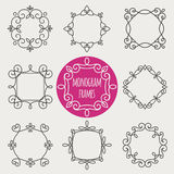 Monogram vintage frames. Set monogram vintage frames stylized antique. On a gray background Royalty Free Stock Photos