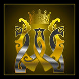 Monogram W,W,gold, silver Royalty Free Stock Image