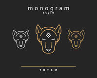 Monogram wolf. Wolf Totem . A set of monogrammed wolves Stock Photos