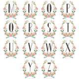 Monogram Wreath Table Card M to Z Stock Photography
