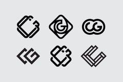 Monograma ajustado cg do profissional moderno no fundo branco Fotos de Stock