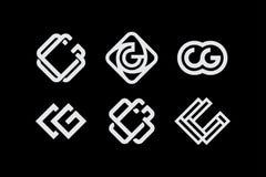 Monograma ajustado cg do profissional moderno no fundo preto Imagens de Stock Royalty Free