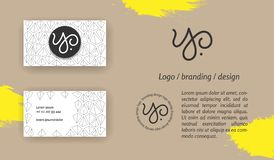 Monograma creativo - muestra dibujada mano de la caligrafía Puede ser utilizado como logotipo fotos de archivo libres de regalías