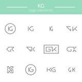 Monograma de las letras de K y de G Imagenes de archivo
