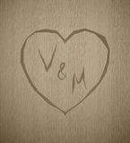 Monograma de madera del día de tarjeta del día de San Valentín de la textura del tablón del vector libre illustration