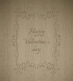 Monograma de madera del día de tarjeta del día de San Valentín de la textura del tablón del vector ilustración del vector