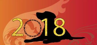 Monograma del vector de la Feliz Año Nuevo 2018 del vector del vintage ilustración del vector