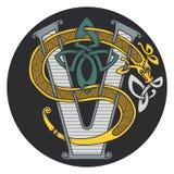 Monograma en el de estilo celta con un dragón Imagen de archivo